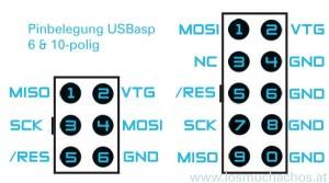 ISP Pinbelegung 6 und 10-polig