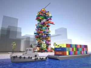 Mobiles Hotel am Schiffscontainerhafen
