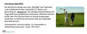 FPV Flug - möglich gem. Zeitschrift PROP (österreichischer Aero Club)